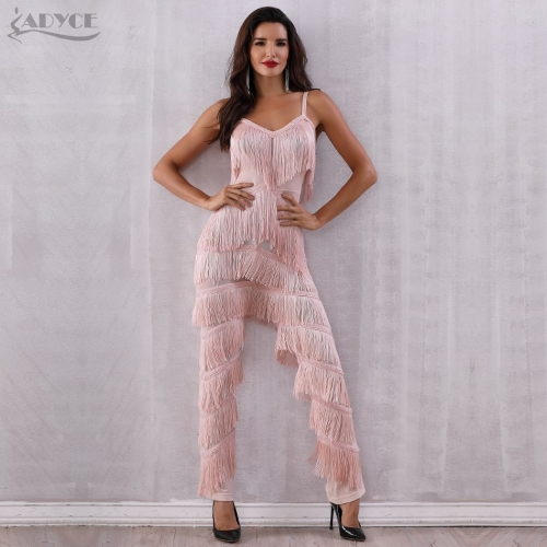 ADYCE New Summer Women Runway Bandage Jumpsuits Elegant Tassels Fringe Lace Rompers Jumpsuit Sexy Bodycon Bodysuit Vestidos