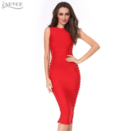 ADYCE Summer Sexy Dresses Celebrity Evening Party Dress Vestidos Red Orange Black Bodycon Midi Women Runway Bandage Dress