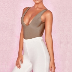 ADYCE New Arrival Summer Women Bandage Bodysuits Sexy Deep V Neck Khaki Sleeveless Evening Party Bodycon Bodysuits Rompers