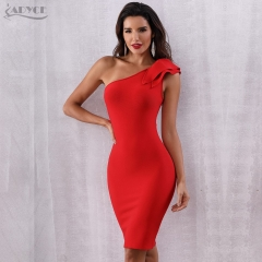 Adyce New Summer Bandage Dress Women Vestidos One Shoulder Red Sleeveless Red carpet Mini dress Club Dress Celebrity Evening Party Dress