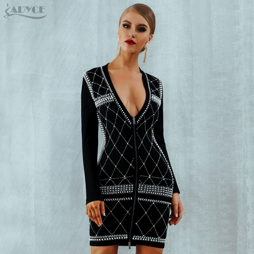 Adyce Women Summer Bandage Dress Vestidos Celebrity Evening Party Dress Sexy Black Long Sleeve Beading Pearls Runway Dress