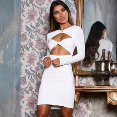 Adyce New White Bandage Dress Women Sexy Long Sleeve V Neck Hollow Out Club Dresses Vestidos Elegant Celebrity Party Dress
