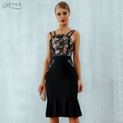 Adyce New Bodycon Bandage Dress Vestidos Black Spaghetti Strap Summer Dress Lace Sleeveless Celebrity Evening Party Dresses