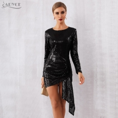 Adyce 2019 New Arrival Women Spring Celebrity Runway Party Dress Black Long Sleeve Sequin Draped Mini Luxury Club Dress Vestidos