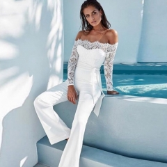 Adyce New Women Bandage Jumpsuit 2019 Bodycon Sexy White Lace Long Sleeve Off The Shoulder Full Length Celebrity Party Bodysuits