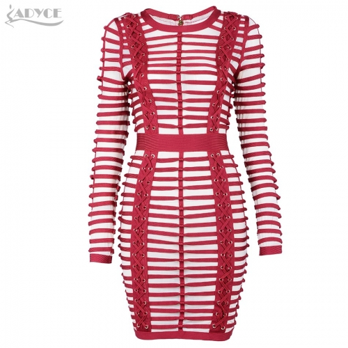 Adyce New Winter Bodycon Dress Women Sexy Striped Mesh Hollow Out Evening Party Dress Long Sleeve  Bandage Dresses