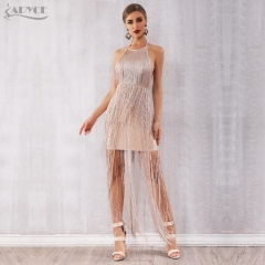 Adyce Women Bandage Dress Vestidos Verano 2019 New Summer Sexy Celebrity Evening Party Dress Nude Maxi Tassels Fringe Club Dress