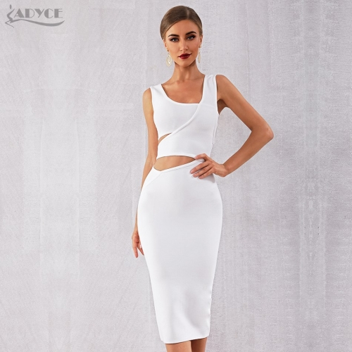 ADYCE 2019 New Summer Women Club White Bandage Dress Vestido Black Tank Sexy Hollow Out Sleeveless Bodycon Celebrity Party Dress