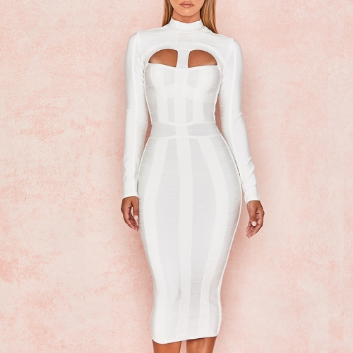 Adyce 2019 New Summer Women Bodycon Bandage Dress White Long Sleeve Hollow Out Club Dress Vestidos Celebrity Evening Party Dress