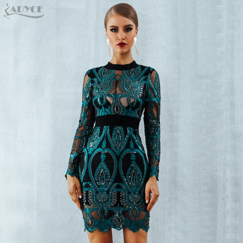 ADYCE Celebrity Party Sequin Dress Women 2019 New Long Sleeve Backless Sexy Mesh Hollow Out Mini Luxurious Club Dresses Vestidos