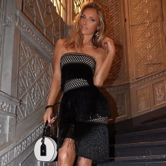 Adyce New Summer Bodycon Bandage Dress Women Vestido Sexy Strapless Black Lace Tassel Clubwears Mini Celebrity Party Dress
