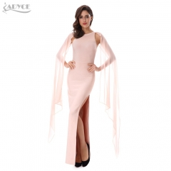 Adyce New Women Summer Bandage Dress Apricot O-Neck Mesh Cloak Sleeves Vestidos Split Ankle Length Sexy Evening Party Dress