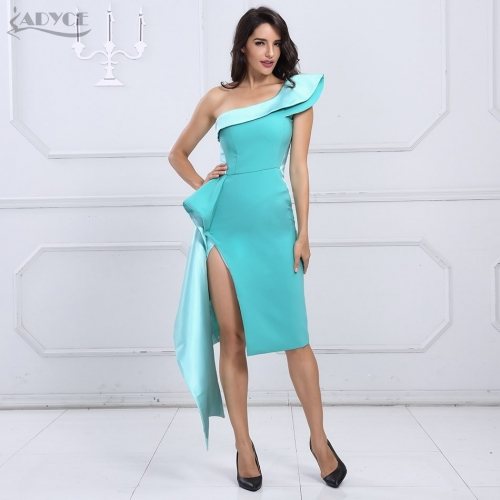 Adyce Summer Celebrity Bodycon Dress Women Vestidos Verano New Apricot Blue One Shoulder Sleeveless Midi Club Party Dresses