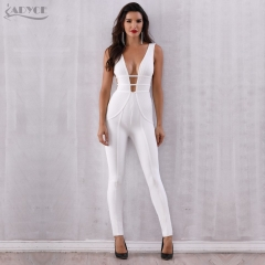 Adyce New Summer White Bandage Jumpsuit Rompers Vestidos Verano 2019 Sexy Sleeveless Deep V Hollow Out Celebrity Party Jumpsuits