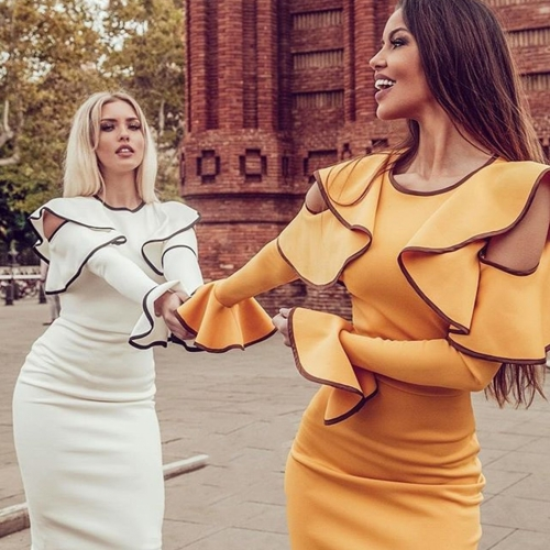 Adyce 2019 New Summer Women Bandage Dress Sexy Flare Sleeve White Ruffles Midi Club Dress Vestidos Celebrity Evening Party Dress