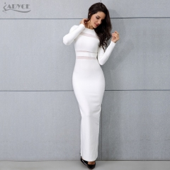 Adyce New Women White Long Sleeve Maxi Dress Sexy Winter Long Runway Dress Vestidos Nightclub Celebrity Party Dresses