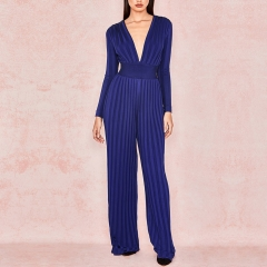 ADYCE 2019 Summer Women Bandage Jumpsuit Rompers Celebrity Runway Party Jumpsuit Sexy  V Neck Blue Long Sleeve Bodycon Bodysuits
