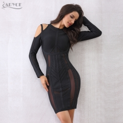 Adyce Fashion Women Luxury Bandage Dress Black O Neck Off the Shoulder Mesh Celebrity Mini Dresses Evening Party Vestidos