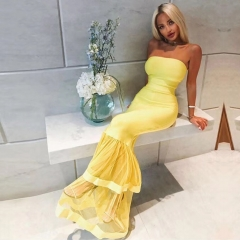 Adyce Summer Women Bandage Dress Vestidos Verano 2019 Sexy Sleeveless Strapless Yellow Club Dress Elegant Celebrity Party Dress