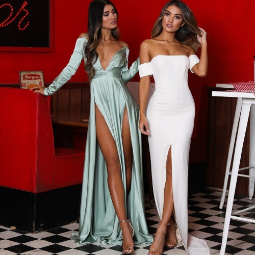 Adyce New Autumn Red White Women Bandage Dress Vestido Sexy Off Shoulder Short Sleeve Maxi Long Club Celebrity Party Dress