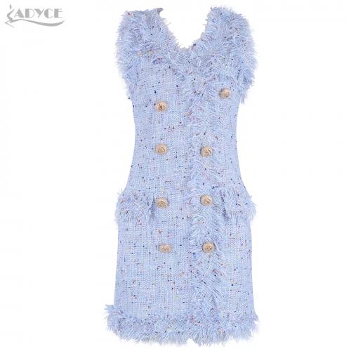 Adyce Summer Bodycon Women Dress Vestido Sexy V Neck Sleeveless Tank Denim Dresses Clubwears Celebrity Evening Party Dress