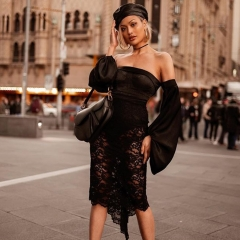 Adyce 2019 New Summer Off Shoulder Women Bandage Dress Vestidos Sexy Black Slash Neck Lace Club Dress Midi Celebrity Party Dress