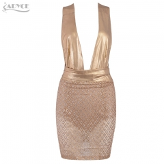 ADYCE Summer Women Celebrity Party Dress Vestidos Verano New Sexy Deep V Backless Sleeveless Sequin Bow Bodycon Club Dress