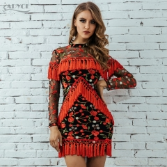 Adyce New Fringe Dress Women Tassel Bodycon Dress Sexy Long Sleeveless Mesh Hollow Out Mini Celebrity Party Dress Vestidos
