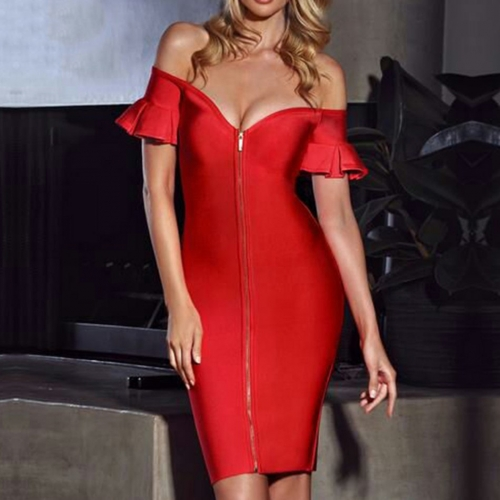 Adyce Women Bandage Dress Vestidos Verano New Summer Red Slash Neck Deep V Elegant Bodycon Club Dress Celebrity Party Dress