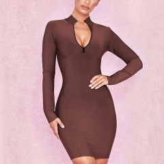 Adyce New Autumn Bandage Dress Women Elegant Celebrity Evening Party Dress Vestidos Sexy Long Sleeve Brown Zip Club Dress