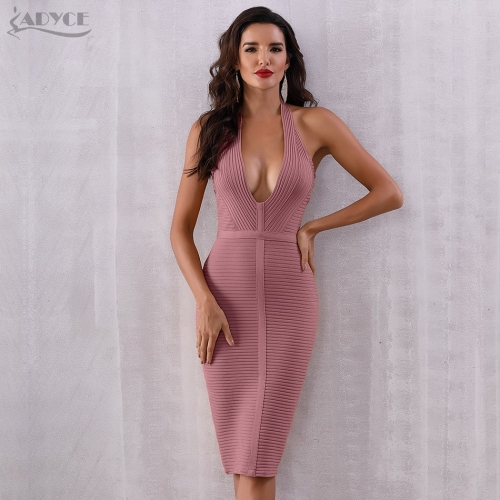 ADYCE Summer Women Bandage Dress Vestido 2019 New Sexy Backless Sleeveless Halter Bodycon Clubwear Celebrity Evening Party Dress