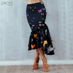 Adyce 2019 New Summer Women Skirts Elegant High Waist Ruffles Butterfly Casual Mid-Calf  Celebrity Prom Bodycon Party Skirts