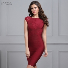 Adyce Summer Wine Red Bandage Dress Women Black O Neck Short Sleeve Mesh Runway Club Dress Celebrity Evening Party Dress Vestidos