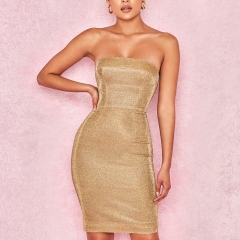 Adyce New Summer Women Bandage Dress Vestido Sexy Gold Strapless Sleeveless Club Dress Elegant Celebrity Runway Party Dress