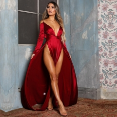Adyce New Summer Celebrity Party Dress Women Vestidos Verano New Long Sleeve Maxi Deep V Neck Spaghetti Strap Club Dresses