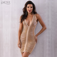 ADYCE New Summer Women Bandage Dress Vestidos Sexy Deep V-Neck Sleeveless Tassel Fringe Dress Bodycon Celebrity Party Dress