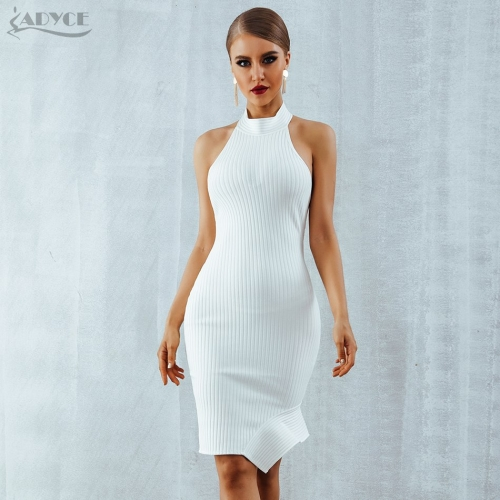 ADYCE New Women White Bandage Dress Vestidos Verano Sexy Halter Sleeveless Backless Bodycon Celebrity Evening Party Dress