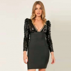Adyce 2019 New Winter Celebrity Runway Party Bandage Dress Sexy Black Long Sleeve Deep V Mini Sequin Bodycon Club Dress Vestidos