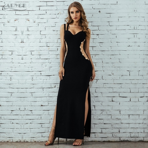 Adyce  Summer Women Bandage Dress Vestidos Verano 2019 Celebrity Party Dress Sexy Spaghetti Strap Hollow Out Bodycon Club Dress