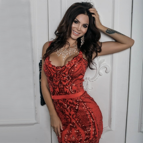 Adyce New Arrival Women Summer Bandage Dress Celebrity Runway Party Dress Sexy V Neck Red Sequin Lace Club Dresses Vestido