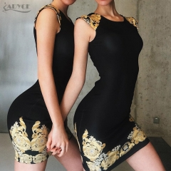 ADYCE New Summer Women Bandage Dress Black O-Neck Sleevelss Appliques Mini Length Tank Runway Celebrity Party Dress Vestido