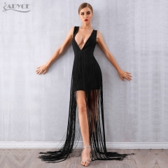 Adyce Women Bandage Dress Vestidos Verano New Summer Sexy Celebrity Party Dress Black Deep V Tassels Fringe Club Maxi Dress