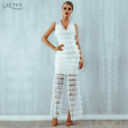 ADYCE Summer Women Bodycon Bandage Dress Vestidos Verano Sexy White Deep V Lace Clubwear Maxi Celebrity Evening Party Dress