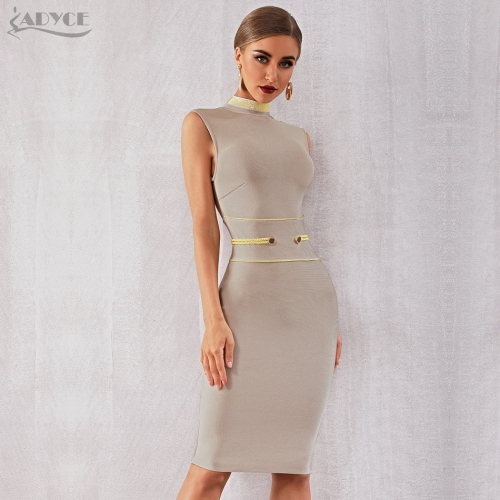 Adyce 2019 New Summer Bandage Dress Women Elegant Celebrity Evening Party Dress Vestidos Sexy Apricot Sleeveless Tank Club Dress