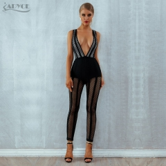Adyce 2019 New Summer Women Bandage Jumpsuits Elegant Black Sexy Deep V-Neck Hollow Out Jumpsuit Celebrity Party Club Bodysuits