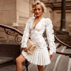 Adyce Celebrity Evening Runway Party Dress Vestidos Verano 2019 New Sexy V Neck Long Sleeve Mini Lace Ruffles Women Club Dresses
