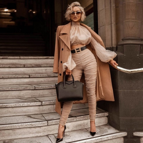 Adyce 2019 New Spring Women Club Sets Vestidos Khaki Tops&Pant 2 Two Pieces Set  Long Sleeve Draped Celebrity Evening Party Sets
