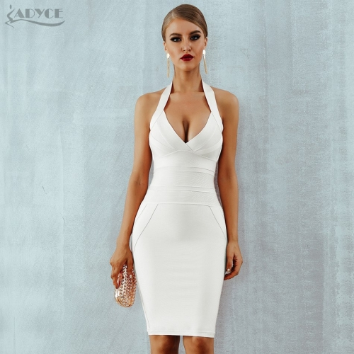 ADYCE 2019 New Summer Women Bandage Dress Vestidos Sexy Halter Backless Sleeveless Bodycon Club Celebrity Evening Party Dresses