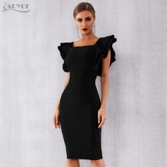 Adyce 2019 New Arrive Summer Women Celebrity Party Bandage Dress Vestido Sexy Black Ruffles Butterfly Sleeve Bodycon Club Dress