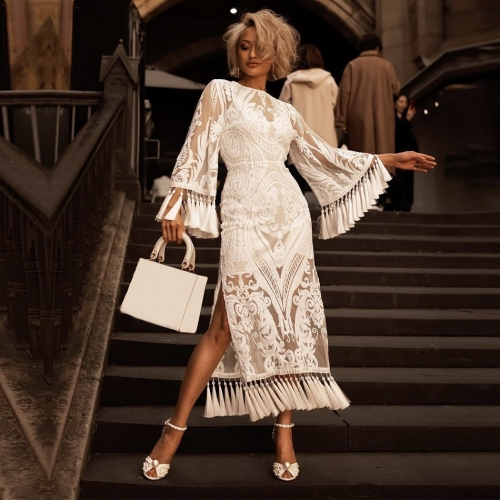 Adyce Summer Bandage Dress New Arrivals White Lace Long Sleeve Tassel Maxi Club Dress Celebrity Party Dress Women Vestidos